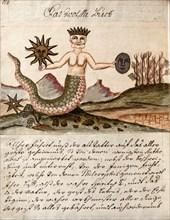 """Figure de l'être illuminé, du sage, du magicien, manuscrit alchimique """"Clavis Artis"""" attribué à Zoroastre (Zarathoustra)"""