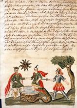 """Phase de l'Opus Alchemicus, manuscrit alchimique """"Clavis Artis"""" attribué à Zoroastre (Zarathoustra)"""