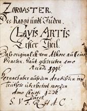 """Page-titre du manuscrit alchimique """"Clavis Artis"""" attribué à Zoroastre (Zarathoustra)"""