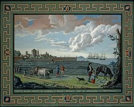 Baseggio, Vue d'une partie de Livourne et de la plage où les navires sont ancrés