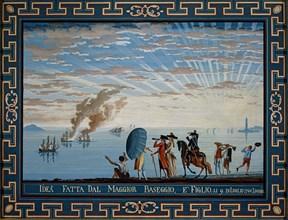 Baseggio, Caprice. Vue d'une marina près de Livourne, avec deux navires en feu