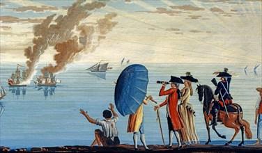 Baseggio, Caprice. Vue d'une marina près de Livourne, avec deux navires en feu (détail)