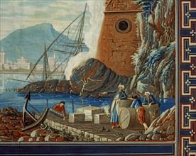 Baseggio, Paysage marin avec port et calfeutreurs au travail (détail)