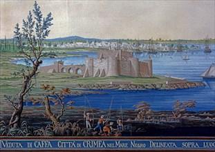 Baseggio, Vue de la ville et de la forteresse de Caffa en Crimée, sur la mer Noire (détail)