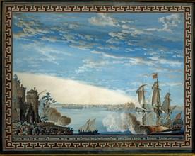 Baseggio, Vue sur le port et la forteresse de Trabzon, en Mer Noire