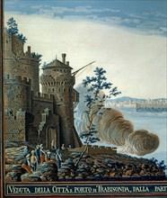 Baseggio, Vue sur le port et la forteresse de Trabzon, en Mer Noire (détail)
