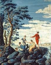 Baseggio, Paysage fantastique. Vue idéale avec forteresse et pêcheurs sur les rochers (détail)