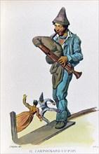 Petit métier de Naples : le joueur de cornemuse aux marionnettes