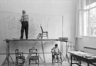 Marc Chagall dans son atelier