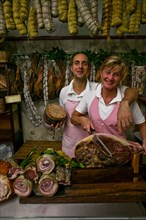 """Rosita Cariani and Marco Biagetti, owners of the Butcher shop """"Tagliavento"""" in Bevagna, Italie"""