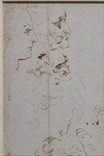 """""""Heads and Figure in Bust Length Views, one in three quarter length"""", by Leonardo da Vinci, pen and two different brown inks"""