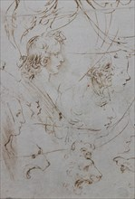 """""""Heads and Figure in Profile Views, The Virgin Mary nursing Infant Jesus in a Landscape and Infant St. John, a Lion Head and a Dragon"""" by Leonardo da Vinci"""