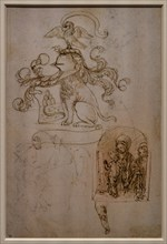 """""""Coat of Arms, Horse, Madonna and blessing Infant Jesus and Angel, Right leg of a child"""", by Francesco di Simone Ferrucci"""