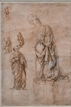"""""""Madonna in Adoration, St. Peter, Faith and Charity, Infant Jesus blessing on a Chalice"""", by Francesco di Simone Ferrucci"""