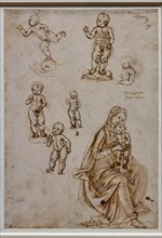 """""""Putto balanced on a dolphin head, four blessing and standing children, Sitting Madonna and Standing Child"""", by Francesco di Simone Ferrucci"""