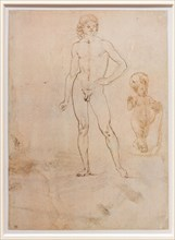 """""""Nude of a Youth Infant Jesus blessing with his hand raised"""", by Francesco di Simone Ferrucci"""