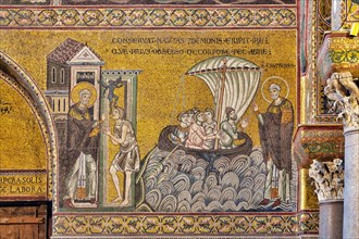 """Monreale, Duomo, Episodes from the life of San Castrense, patron of Monreale: """"Liberation of the possessed and rescue of stormy sailors """""""