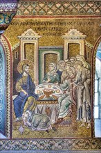 """Monreale, Duomo: """"Mary Magdalene anoints Jesus' feet with ointments, washes them with her tears and dries them with her hair"""""""