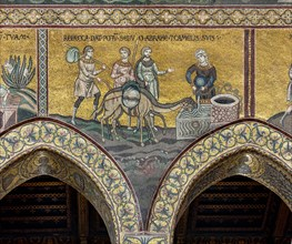 """Monreale, Duomo: """"Rebecca makes Abraham and his camels drink"""""""