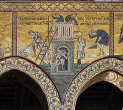 """Monreale, Duomo: """"The construction of the Tower of Babel"""""""