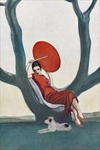 """""""Donna su albero con parasole rosso. La Lettura, 1° luglio 1925"""""""