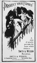"Frightened Husband with Gun and Wife on Stairway, ""Protect Your Family"", Advertisement, Smith & Wesson Revolver, circa 1901"