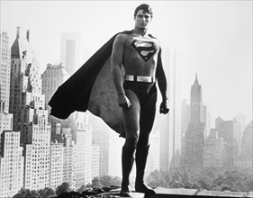 """Christopher Reeve, on-set of the Film, """"Superman"""", 1978"""