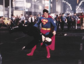 """Christopher Reeve and Terence Stamp, on-set of the Film, """"Superman II"""", 1980"""