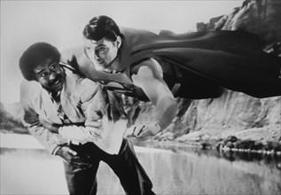 "Christopher Reeve and Richard Pryor, on-set of the Film, ""Superman III"", 1983"