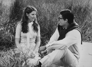 """Christopher Reeve and Annette O'Toole, on-set of the Film, """"Superman III"""", 1983"""