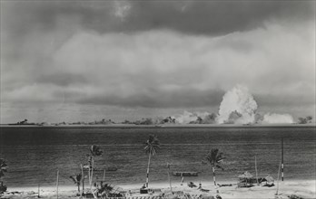 U.S. Military Atomic Bomb Test and Resulting Explosion, Crossroads Target Fleet, Bikini Island, Pacific Ocean, 1946