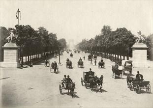 Horses & Buggies on Avenue des Champs-Elysées, Paris, France, Albumen Print, circa 1890