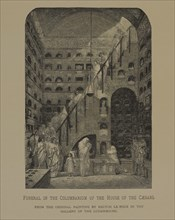 Funeral in the Columbarium of the House of the Caesars, Woodcut Engraving by Roland Brunier from the Original 1864 Painting by Hector Le Roux, The Masterpieces of French Art by Louis Viardot, Publishe...