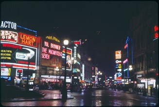 Street Scene at Night, Piccadilly Circus, London, England, UK, 1960