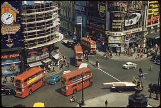High Angle View of Piccadilly Circus and Street Scene, London, England, UK, 1960