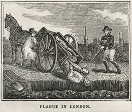 Plague in London, 1665-66, Illustration from the Book, Historical Cabinet, L.H. Young Publisher, New Haven, 1834