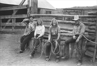 Group of People Learning how to Throw a Rope during Ranch Rodeo Contest, Brewster Arnold Quarter Circle U Ranch, Birney, Montana, USA, Arthur Rothstein, Farm Security Administration, June 1939