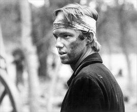"""Richard Thomas, on-set of the Television Film, """"The Red Badge of Courage"""", 20th Century-Fox Television, 1974"""