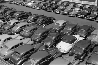 High Angle View of Rows of Parked Cars in Parking Lot