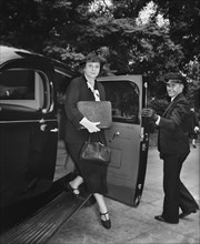 U.S. Secretary of Labor Frances Perkins arriving at White House for Special Cabinet Meeting with U.S. President Franklin Roosevelt due to the uncertainty in Europe