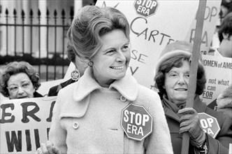 "Activist Phyllis Schafly wearing a ""Stop ERA"" badge"