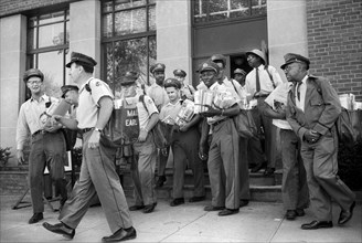 Group of Mailmen about to start their deliveries from Post Office, New York City, May 1957