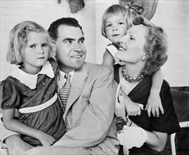 U.S. Senator and Mrs. Richard M. Nixon with daughters Tricia and Julie, Charlotte Brooks