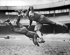 Chicago Bears Teammates Joe Zeller trying to tackle Red Grange during Practice, Alan Fisher
