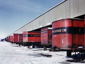 Truck Trailers lined up at Freight House to load and unload Goods from Chicago and North Western Railroad, Chicago