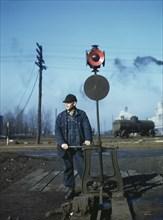 Daniel Senise throwing Switch, Indiana Harbor Belt Line Railroad Yard