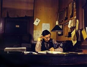 Yardmaster in Railroad Yard's Office, Atchison