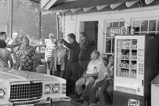 Democratic Presidential Nominee Jimmy Carter making Campaign Stop at his brother Billy's Gas Station in their hometown of Plains, Georgia