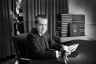 U.S. President Richard Nixon during his Television Address to the Nation regarding releasing Watergate Tape Transcripts, White House