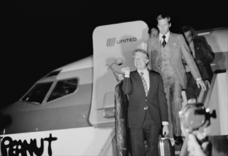"""Jimmy Carter disembarking from the Airplane """"Peanut One"""",  Wilkes-Barre Scranton Airport for Presidential Campaign stop"""